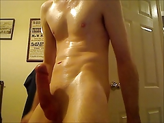 Oiled up big headed cock