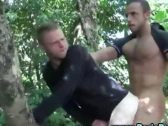 Outdoor euro gays fuck and perform a cumshot