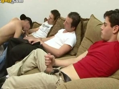 Young dudes in a Blowjob Orgy waiting their turn
