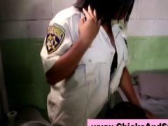 Horny ebony femdom prison officer fucks a gay prisoner