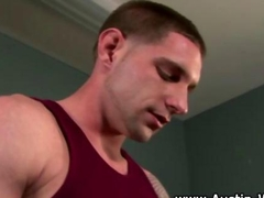 Hungry muscly jock sucks on a stiff dick