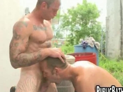 Two gay studs go out and fuck
