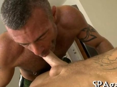 Hairy gay bear gets massaged and slammed