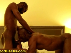 Ebony dude slams a muscly black ass real hard