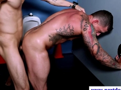 Hungry muscle bound stud pounded from behind