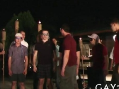 College boys go through their initiation