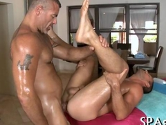 Exquisite masseur slams his clients oily asshole