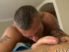 Tight ass masseur gets blasted by his client