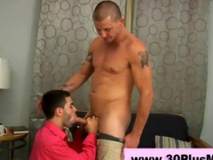 Horny gay gets a mouthful of a dick to suck