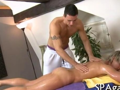 Horny stud bangs a sexy gay bloke during a massage