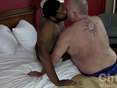 Horny gay bear fucks a chubby black dude from behind