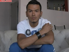 Sexy Latin man with a big dick masturbates