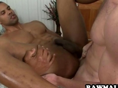 Muscular ebony hunk getting fucked in the asshole