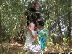 Gay European amateur sucks a dick outdoors