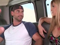 Good looking dude seduced by sexy blonde in the baitbus