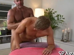 Sensual oil massage with two gay studs