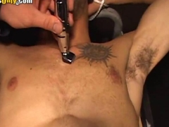 Hairy Stud Shaving His Body with a razor