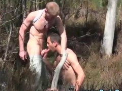 Outdoor hardcore gays blowjob fuck gets wild
