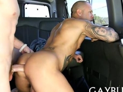 Explicit cock riding with gays in the backseat