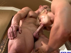 Straight cut cock jock getting bj from horny muscle hunk