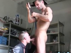 Euro gays suck dicks in a workshop