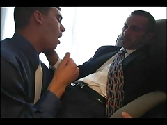 Full suited daddy fucks boy at office