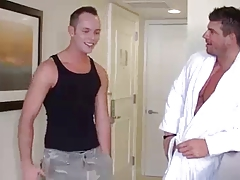 Bodybuilder Atlas and Twink in Hotel room