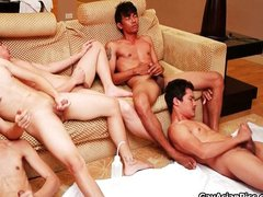 Five Thai twinks jerking together