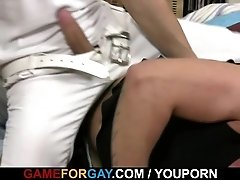 Bald hunk jumps on his horny cock