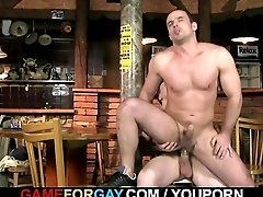 Straight bartender gets lured into his first cock riding