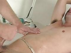 Dark haired twink gets his dick in vacuum pump on a physical