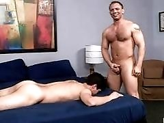 Big guy makes his partner to make him a hot blowjob