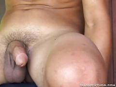 Very hot blonde gay hunk jerks off big raging boner