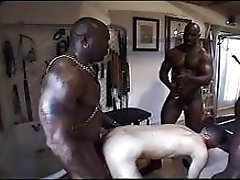 Thre big dirty black hungs fucking hard white skinny guy