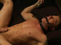 Skinny horny blonde gay gets tied and tortured