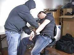 A bandit in mask tied up a cute guy to rape him