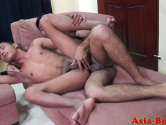 Ethnic asian twink tasting jizz