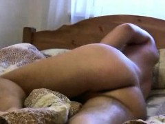 All-naked twink works his pecker and fondles booty