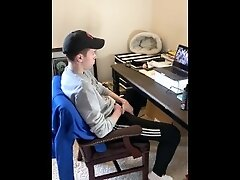 19 year old Jesse Gold jerks off during online class and gets caught by his stepdad